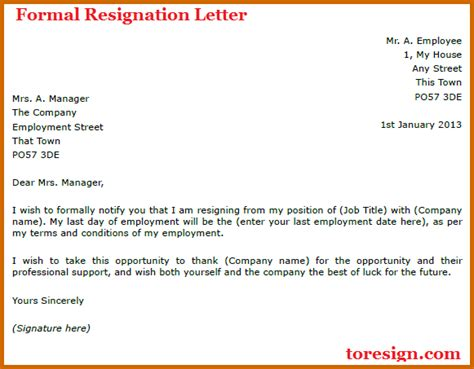 Lease Resignation Letter Format 9 How To Write A Formal Resignation Letter Lease Template