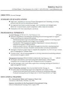 resume exle for a account manager in sales marketing