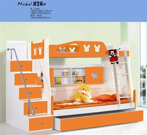 Bunk Bed For Children Mdf Panels Children Bed New Bunk Bed With Stairs Orange Colour On Aliexpress 453 90