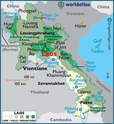 map of laos laos large color map