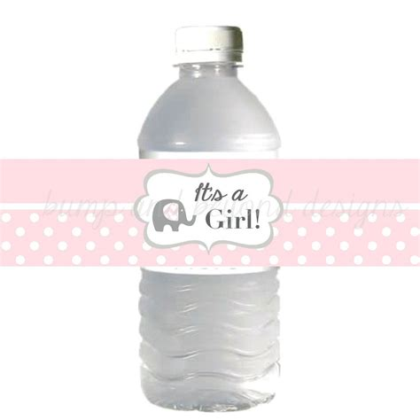 Water Bottle Labels For Baby Shower by Water Bottle Labels It S A Baby Shower Powder Pink
