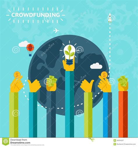 graphic design crowd creative world crowd funding concept design stock photo