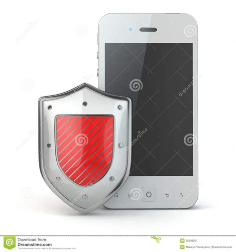 mobile phone security mobile phone security concept cellphone and shield stock