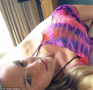 selfie in bed bar refaeli shares another snap of her impeccable bikini