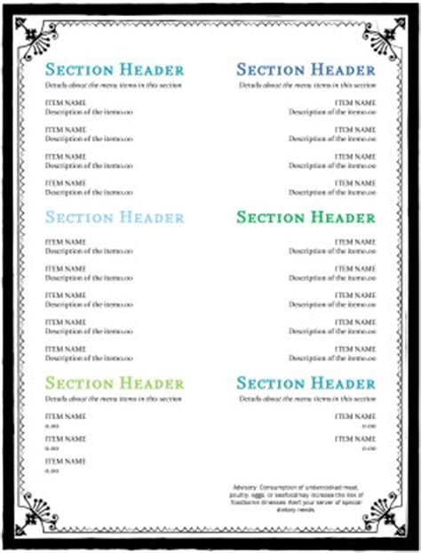simple html menu template cafe menu page simple menus