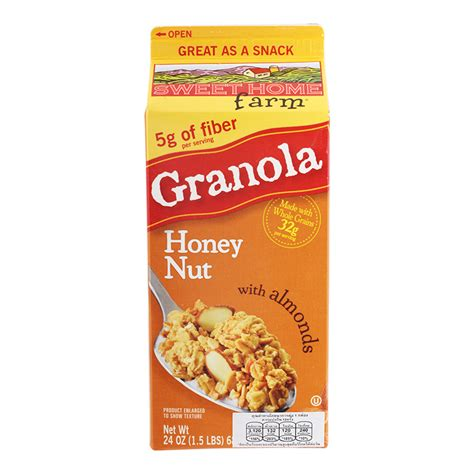 sweet home farm granola honey nut with almonds 682g
