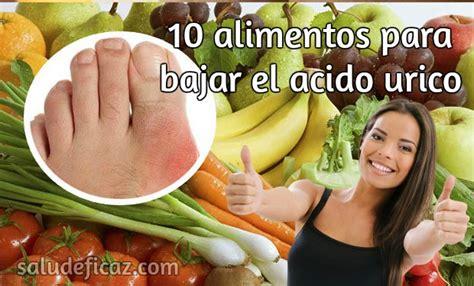 alimentos  bajar el acido urico salud eficaz