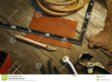 Handmade Leather Crafts - leather craft tool and accessories stock photo