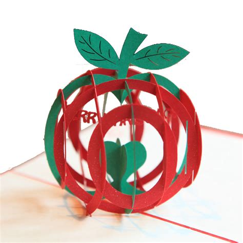 Greeting Cards Gifts - christmas apple shape 3d pop up greeting card christmas gifts party greeting card