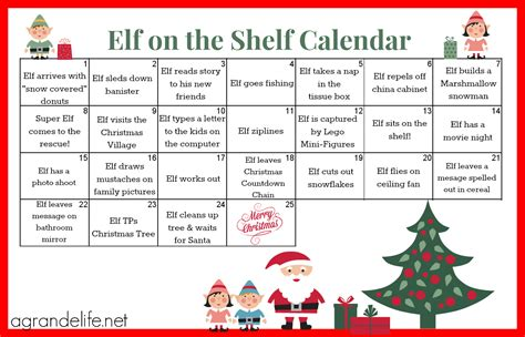 free printable elf on the shelf book 2015 elf on the shelf calendar a grande life