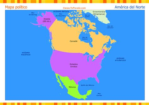 america mapa nombres mapa de am 233 rica norte pol 237 tico mapas tarjetas