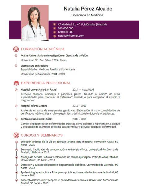 Plantilla De Curriculum Vitae Medico curriculum de m 233 dicos enfermeras plantillas de cv