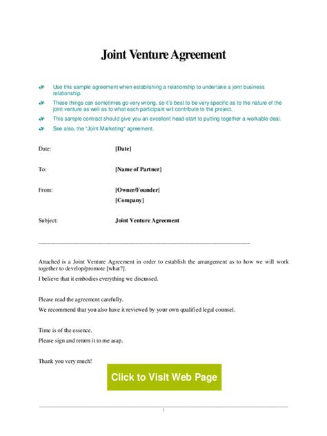 joint venture agreement template 5 free templates in pdf
