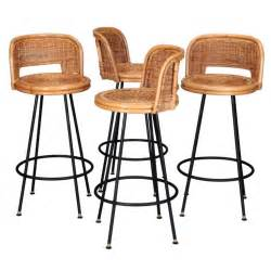 Rattan Swivel Bar Stools Set Of 4 Mid Century Rattan Swivel Bar Stools In Style Of