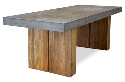 Cessa Light Concrete and Teak Dining Table   Mecox Gardens