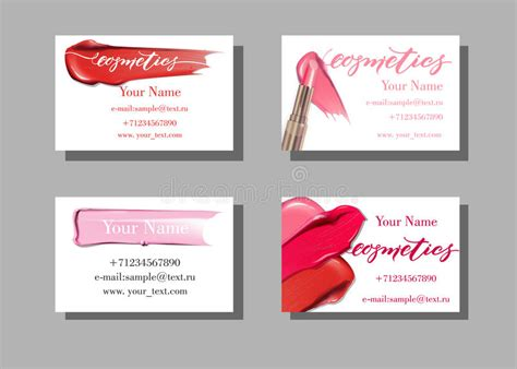 free card templates with lipstick makeup artist business card vector template with makeup