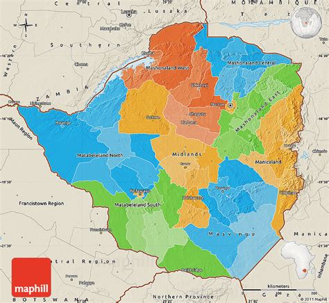 political map  zimbabwe shaded relief