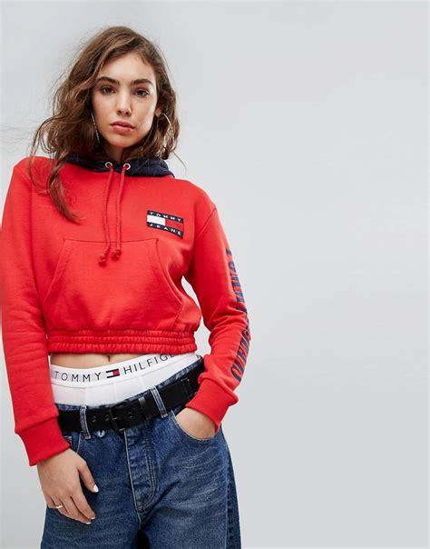 Hoodie Capsule Merah 3 Jidnie Clothing lyst hilfiger 90s capsule contrast crop hoodie in
