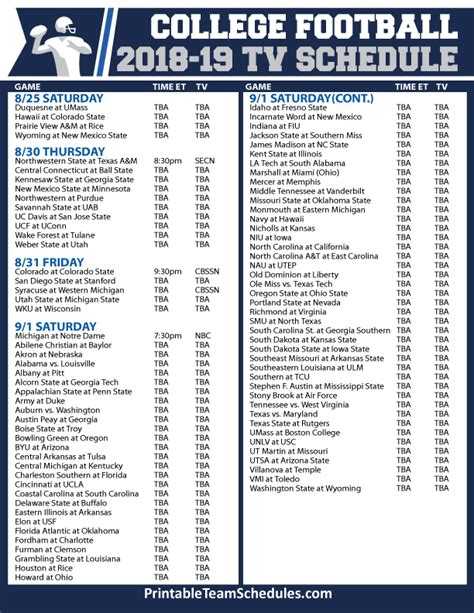 printable schedule of college bowl games college football schedule 2017