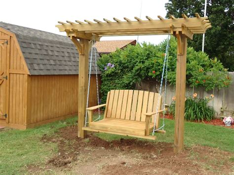 yard swing pergola swings and bower swing carpentry plans arbor plans with swing for the serve it yourself