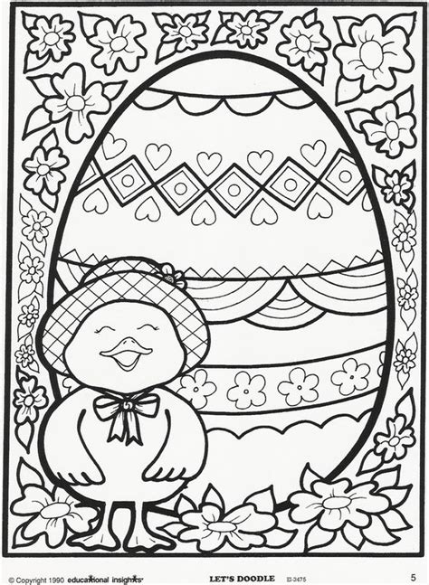 easter egg  chick coloring page  educational