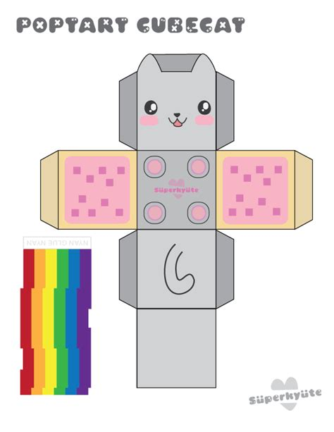 Papercraft Templates Printable - poptart cubecat papercraft by kvweber on deviantart