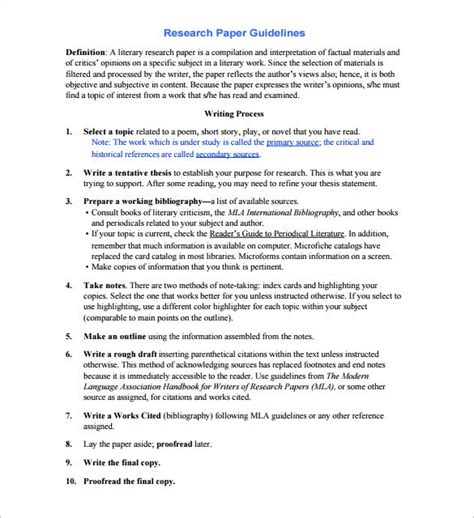 research report template research paper outline template 9 free word excel pdf