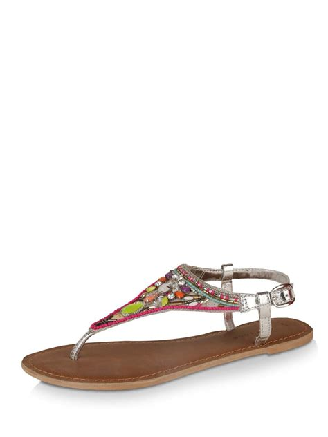 beaded toe sandals buy new look neon beaded toe post sandals for