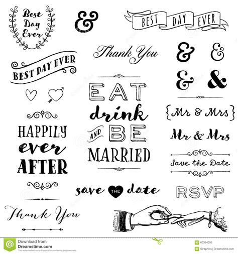 Wedding Fonts And Graphics by Wedding Typography Stock Vector Image 60364095