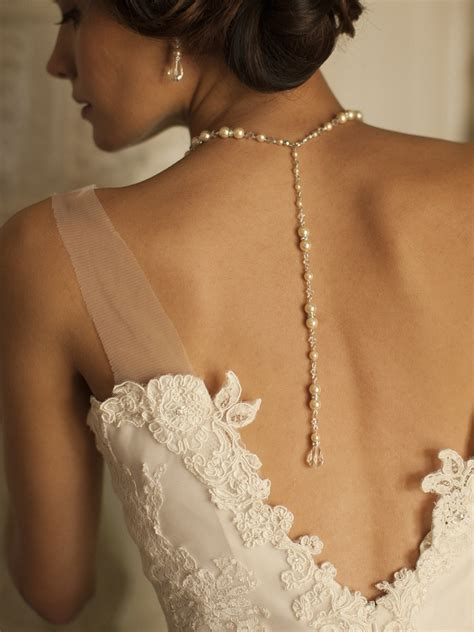 necklace that drapes down the back alluring gold wedding back necklace with ivory pearls