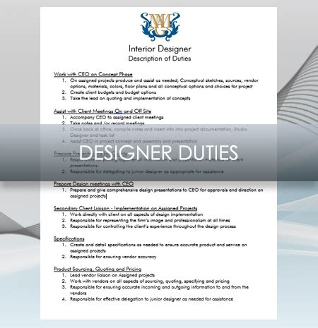 interior design description interior design business designer job description