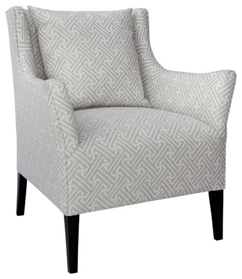 Gray And White Accent Chair The Nelson Chair In Gray White Geometric Fabric Transitional Armchairs And Accent Chairs