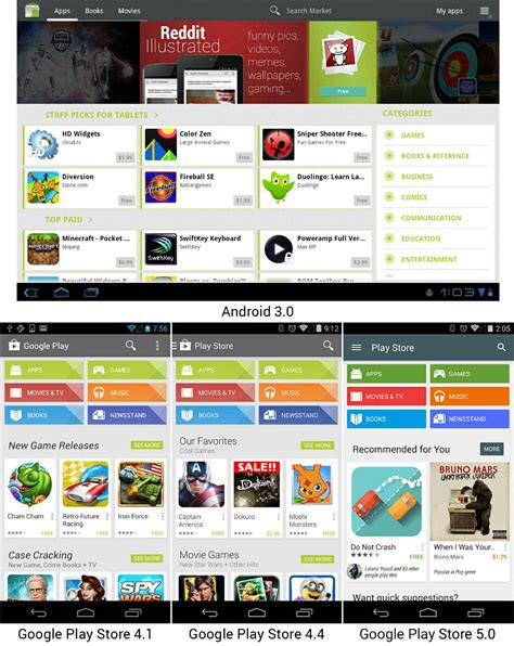android appstore android market app evolution from from 2007 to 2014 photos