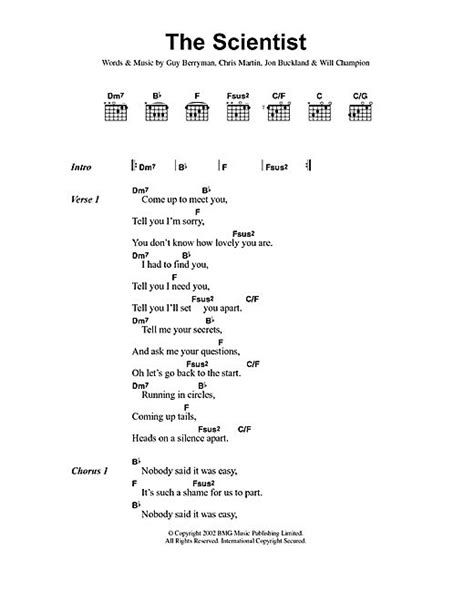 Coldplay The Scientist Chords | coldplay the scientist lyrics chords