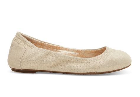 s shoes flats lyst toms metallic suede s ballet flats in