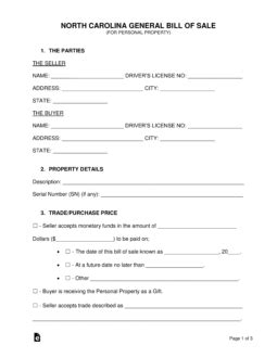 Free North Carolina General Bill Of Sale Form Word Pdf Eforms Free Fillable Forms Bill Of Sale Form Nc Template