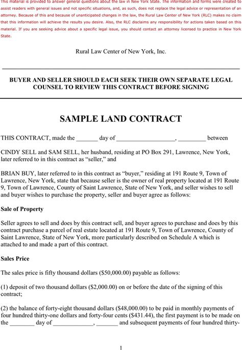 land agreement template sle land contract for free tidyform