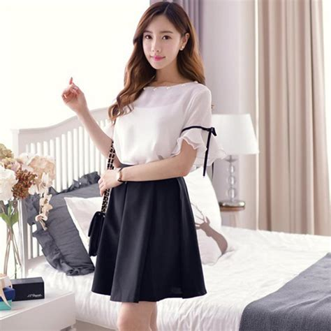 Set Nazla Mini Dress Korea 2 set dress white and black beautiful korean