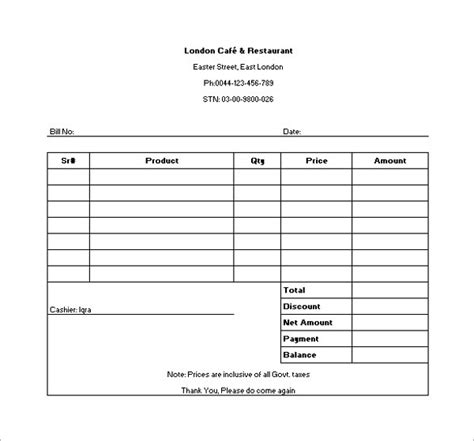 restaurant receipt template 19 restaurant receipt templates pdf word excel