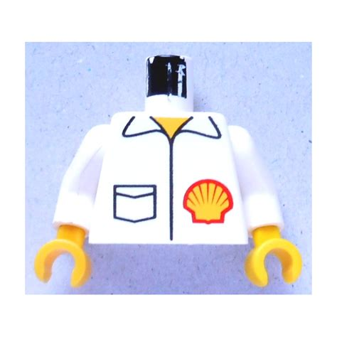 Lego Part White Torso Octan Logo Jacket With And Green Stripe lego minifig torso with shell logo jacket with white arms and yellow 973 brick owl