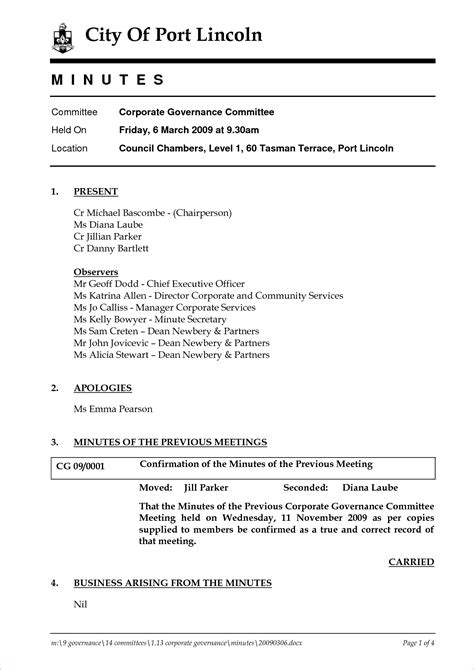 Corporate Meeting Minutes Template 4 Best And Professional Templates Corporate Meeting Template