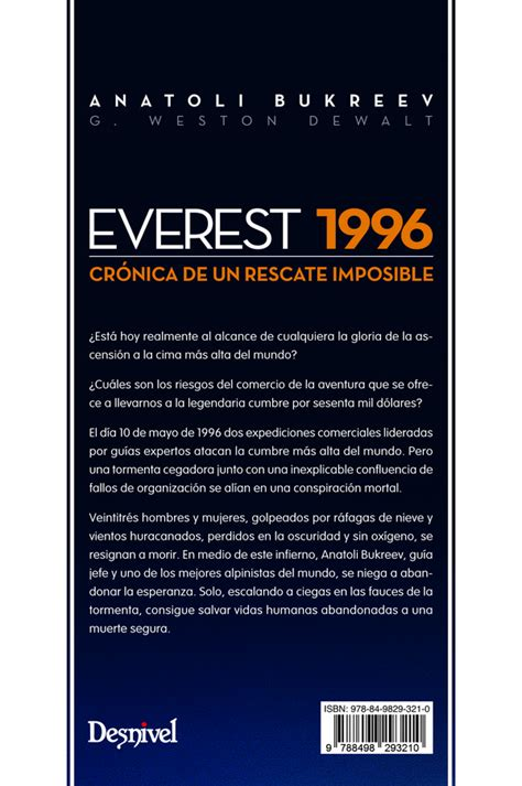 libro everest 1996 ediciones desnivel everest 1996 anatoli bukreev y g weston dewalt 978 84 9829 321 0