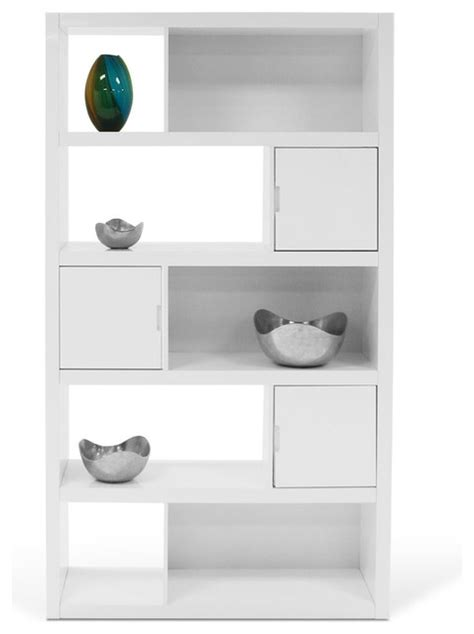 Keaton High Gloss Bookcase White Contemporary High Gloss White Bookcase