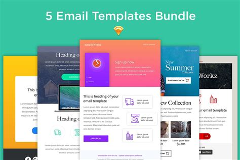 fluid layout email template 5 email templates bundle sketch email templates