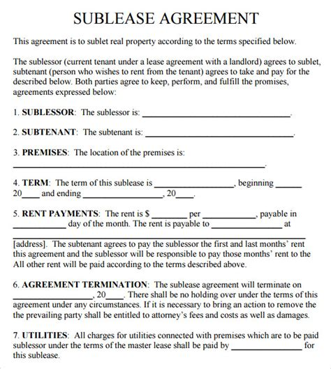 Free Sublet Lease Agreement Template sublease agreement 17 free documents in pdf word