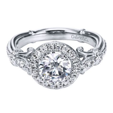 18k white gold antique style halo engagement ring