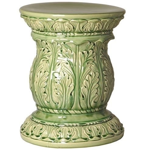Ceramic End Table Stool by Green Acanthus Ceramic Garden Stool Glossy End Side