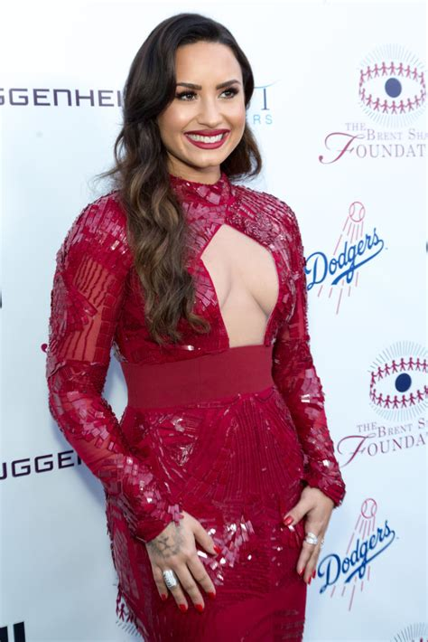 demi lovatos red dress   chest cut