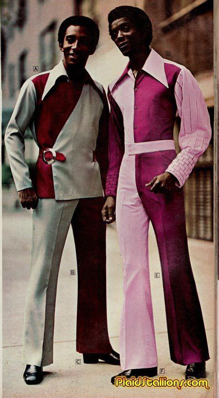 mens 1970s colour splice suit and jumpsuit his vintage