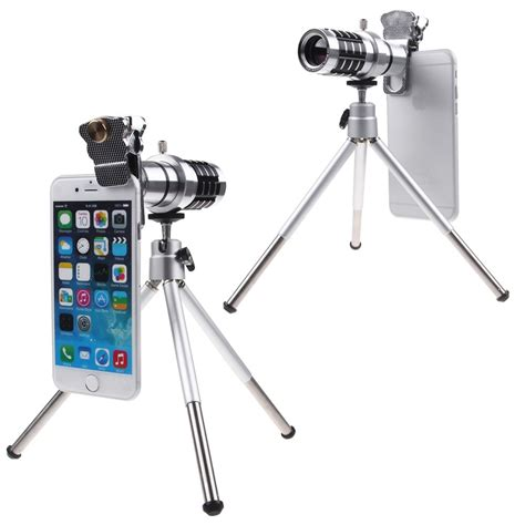 Mobile Telephonetelezoom Lens 12x Tripod Dan Holder universal 12x zoom telephoto telescope lens kit tripod for cell phones